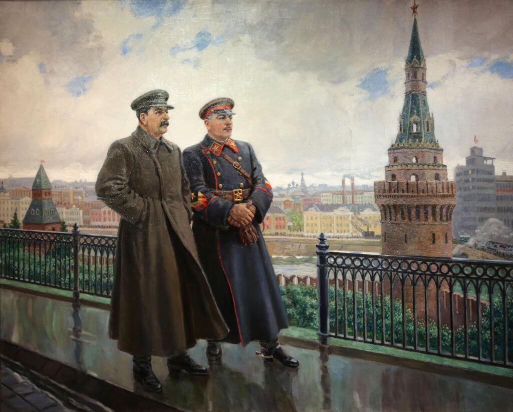 И.В. Сталин и К.Е. Ворошилов в Кремле